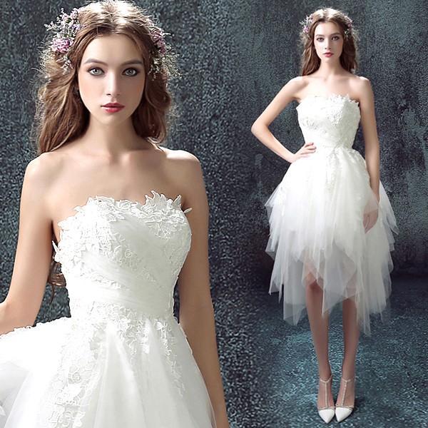 aff75fe19c53c ミニドレス 白 韓国 結婚式 二次会ドレス 披露宴 ウエディングミニドレス 安い 花嫁 ウェディングドレス ...