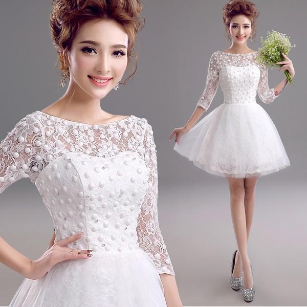 99d260660eafd ミニドレス 白 韓国 結婚式 二次会 披露宴 ウェディングミニドレス 安い 花嫁 ウエディングドレス 長袖 ...