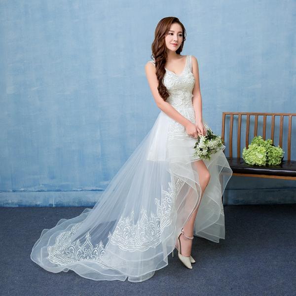 ウエディングドレス エンパイア 安い トレーンドレス 前ミニ ウェディングドレス 結婚式 マタニティドレス 二次会 ロングドレス 花嫁 パーティードレス 演奏会