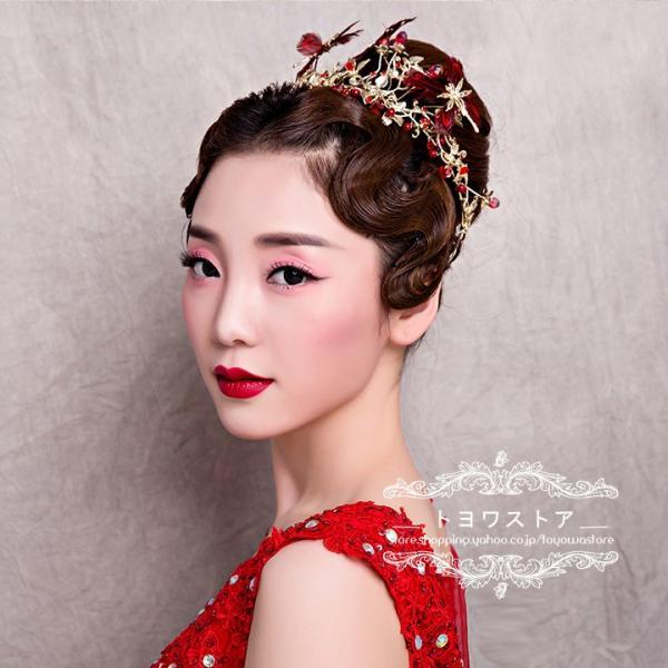 ウェディング ティアラ 赤 クラウン 格安 ヘッドドレス ブライダル 髪飾り パーティー 二次会 花嫁 結婚式 ヘアアクセサリー 発表会