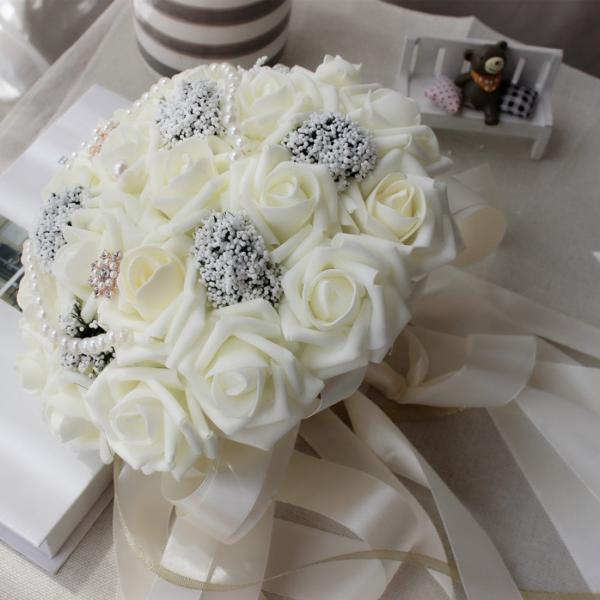 c46f873fb9c55 ... ウエディングブーケ ブートニア 安い 結婚式 ウェディングブーケ 手作り キット 花嫁 アレンジメント 披露宴 ウェディング用 造花 ...