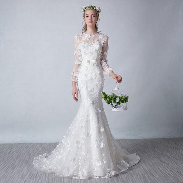 ウェディングドレス マーメイドライン ウエディングドレス 長袖 サッシュリボン 花嫁 ロングドレス 披露宴 マーメイドドレス 安い 二次会 結婚式 大きいサイズ|toyowastore