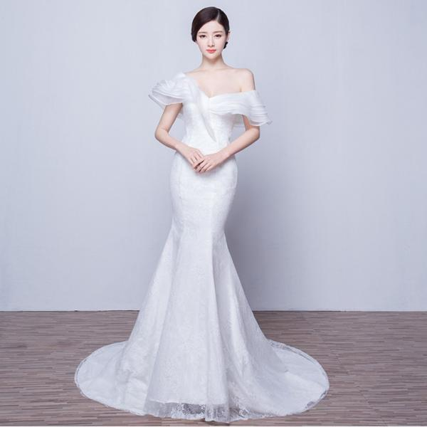 a098660ed831a マーメイドドレス ウエディングドレス 安い ロングドレス 結婚式 ブライダル ウェディングドレス 二次会 マーメイドラインドレス ...