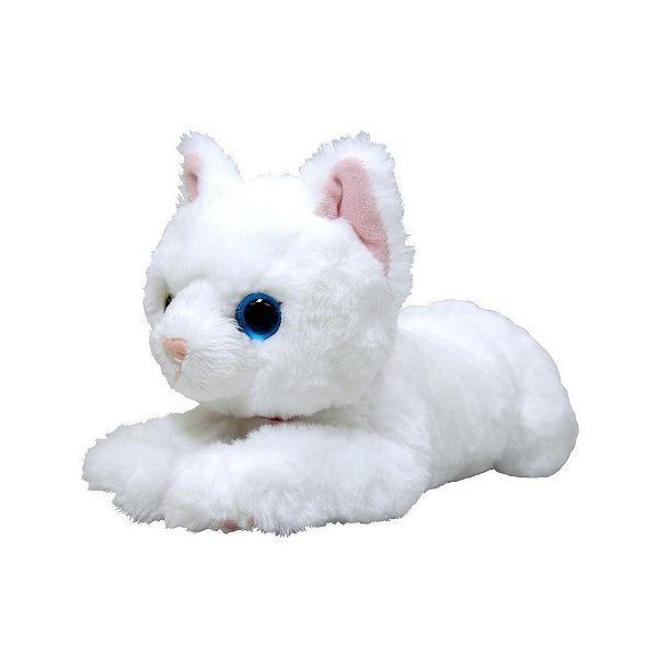 ひざねこ ぬいぐるみ ホワイト オッドアイ Sサイズ 動物 アニマル 全長36cm 送料無料