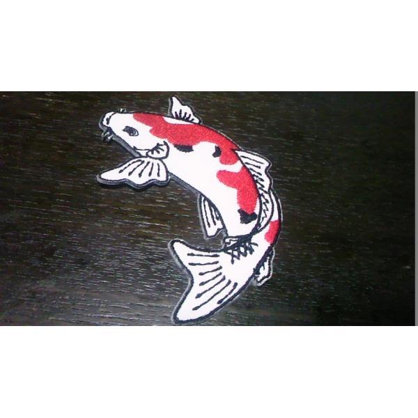 プロ野球応援グッズ(広島用)/縁取り刺繍イラスト鯉ワッペン白S/左向き