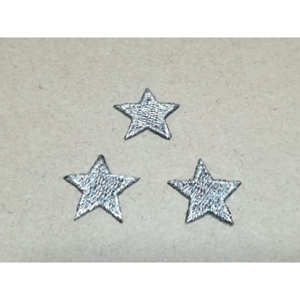 縁取り全刺繍スター・星ワッペン2cm×3枚1セット/黒銀・シルバー