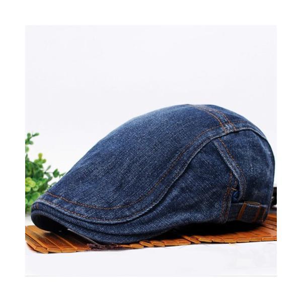 ダークブルーデニムハンチング帽子キャップベレー帽メンズレディースユニセックスS-036