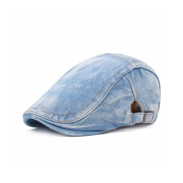 ブルーデニムハンチング帽子キャップベレー帽メンズレディースユニセックスS-036