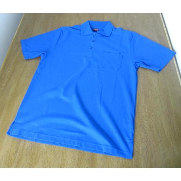 送料無料!半袖 鹿の子織り ポロシャツ ブルー