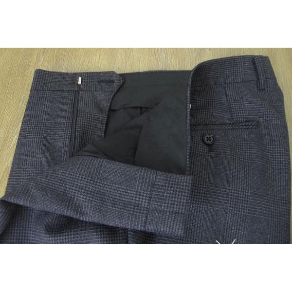 メンズ スーツ 秋冬 スリーピース チャコールグレー グレンチェック 段返り3つボタン 0118 tradhousefukiya 09