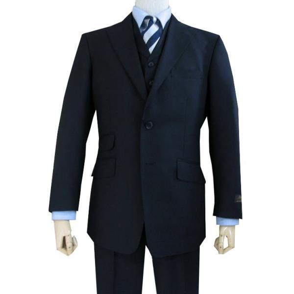 春夏秋 メンズ スーツ 3つボタン スリーピース 濃紺無地 英国調 0588|tradhousefukiya|02