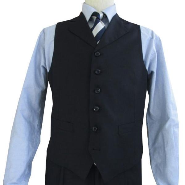 春夏秋 メンズ スーツ 3つボタン スリーピース 濃紺無地 英国調 0588|tradhousefukiya|04