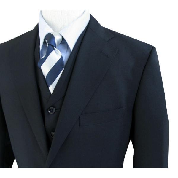 春夏秋 メンズ スーツ 3つボタン スリーピース 濃紺無地 英国調 0588|tradhousefukiya|05