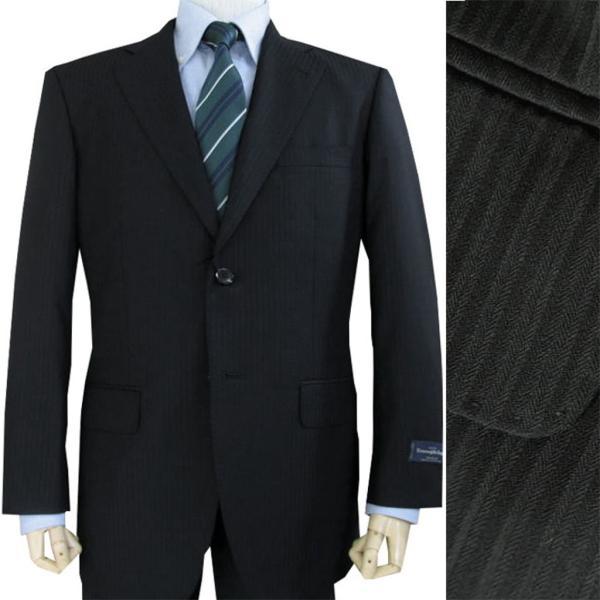 お買い得商品!ゼニアの春夏スーツ 黒 シャドーストライプ