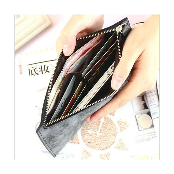 スリム財布 コンパクト 長財布 カード入れ レディース PU皮革 サブ用財布として ライトグリーン