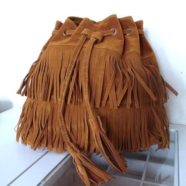 フリンジ バッグ【ブラウン】 スエード 調 巾着 ショルダー バッグ ふさふさたっぷりフリンジ&タッセル レディース
