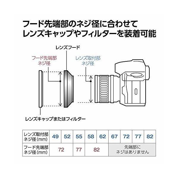 HAKUBA レンズフード ワイドメタルレンズフード 高強度6000系アルミニウム合金製 55mmフィルター径装着用 ブラッ
