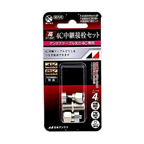 日本アンテナ 中継接栓セット(F型接栓4C用2個+中継接栓1個) F-4コネクタセットSP