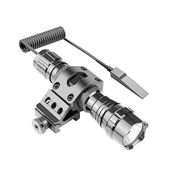 戦術懐中電灯タクティカルライト(1200ルーメン高輝度LED)防水LED懐中電灯+マウントリング(20mmレイル対応)