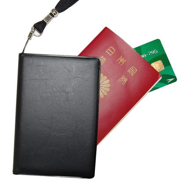 ゴーウェル スキミング防止パスポートカバー ネックストラップ付き