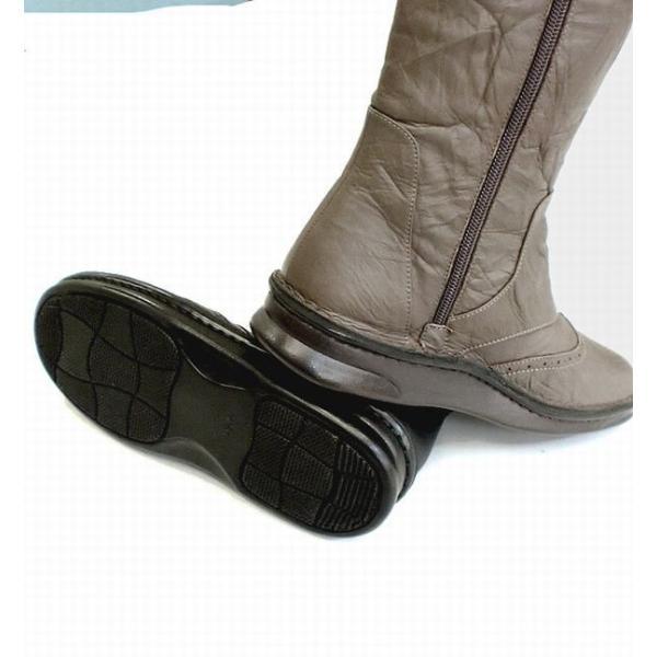 ウエスタンブーツ ブーツ レディースシューズ レディースファッション 靴 本革 ウィングチップ 横ファスナーブーツ 22.0 24.5 2色展開 横ファスナー