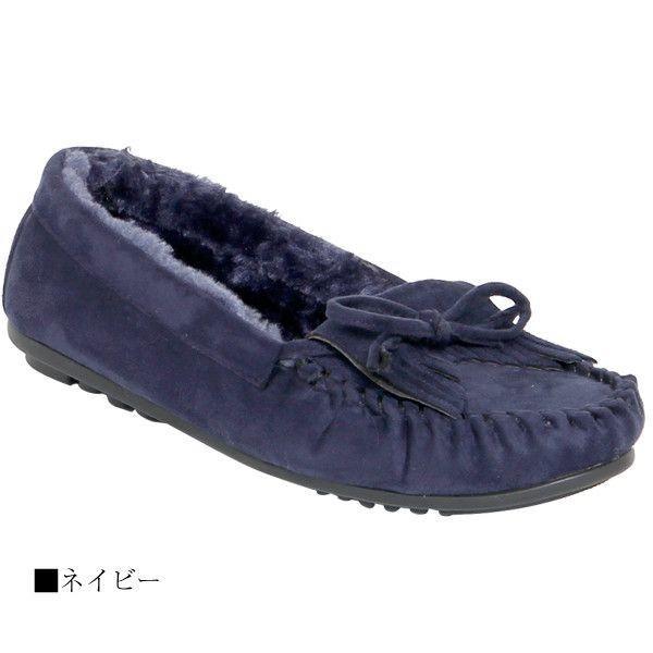 モカシン レディースシューズ レディースファッション 靴 ファーインサイド 小ぶりリボン 定番 スエード フラット ふかふかファー 秋冬仕様 足元が冷える時期
