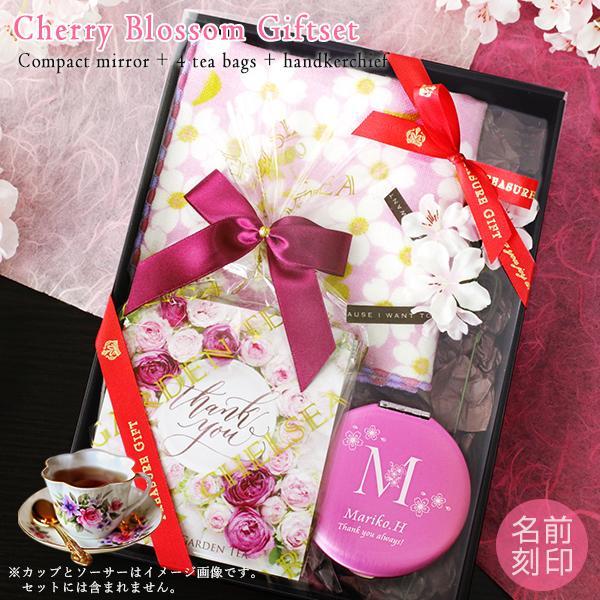 桜ギフトセット コンパクトミラー[丸型]+ 紅茶5種 + 桜ハンカチーフ(シミュレーター対応 _ns)