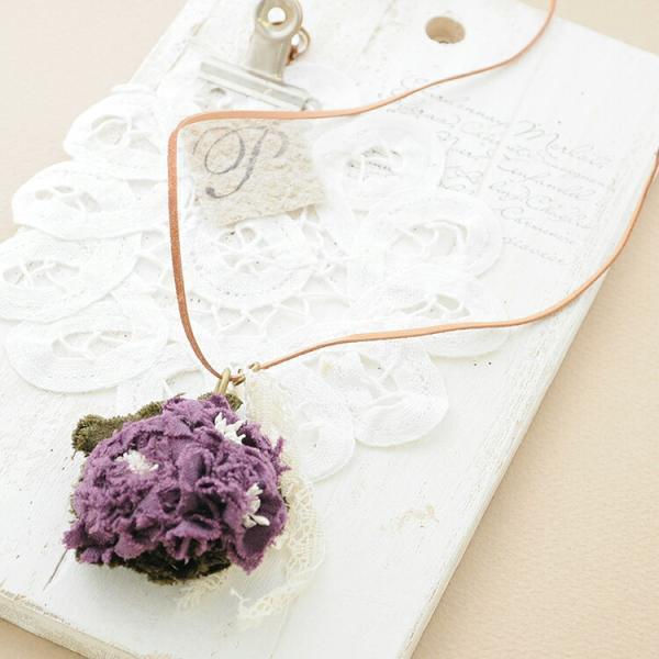 ネックレス 布 花 コサージュ リネン フラワー 花 モチーフ ハンドメイド 紫 b09 レディース