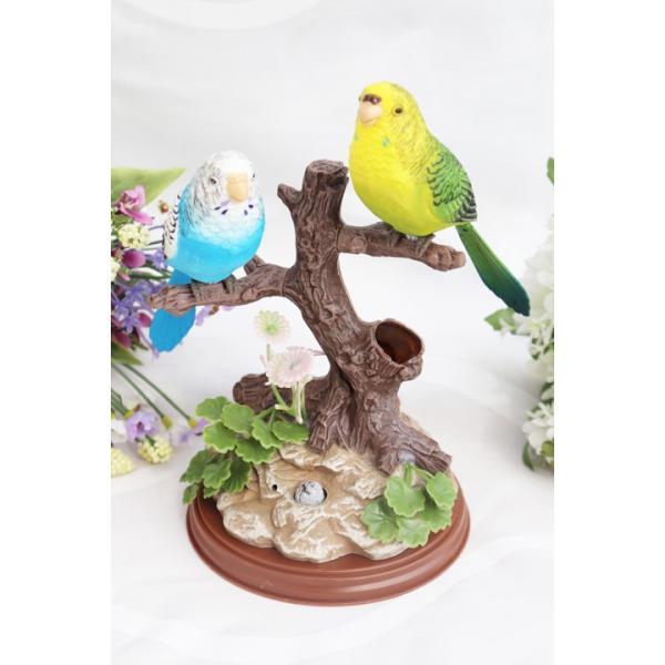 森のセンサーバード 2羽 インコ 置物 小鳥 ムービングバード 音センサー 振動で鳴く 振動 音 感知 鳴く