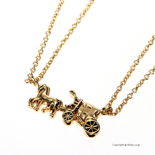 COACH コーチ ネックレス Horse & Carriage Double Chain Necklace ペンダント F33375 GLD