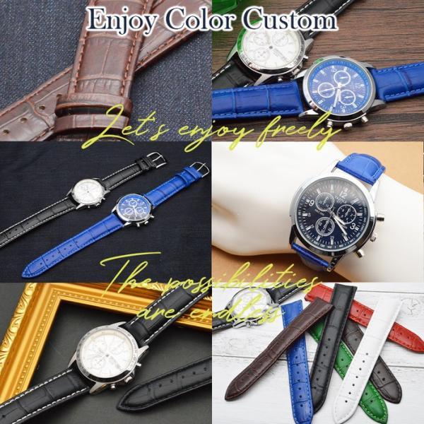 腕時計 ベルト 時計 替えベルト バンド 革ベルト empt COLORS Dバックル ブルー 青 18mm 19mm 20mm 革ベルト 変え ベルト バネ棒外し|trendst|09