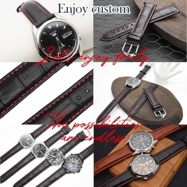 腕時計 ベルト 時計 替えベルト バンド 革ベルト empt 黒 赤ステッチ ブラック レッド クロコ 黒 赤 18mm 20mm 22mm 替えベルト 変え ベルト 替えバンド|trendst|09
