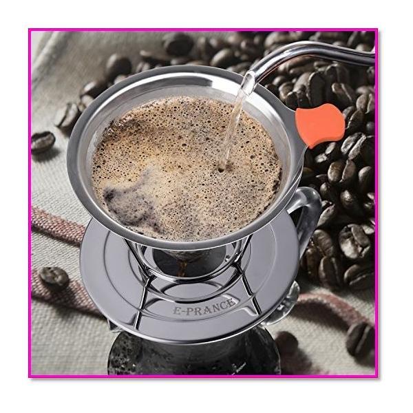 コーヒードリッパーステンレスフィルター蜂窩状2層メッシュペーパーフィルター不要1〜4杯用 シルバー  0169|trepakgogo|06