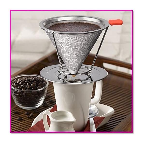 コーヒードリッパーステンレスフィルター蜂窩状2層メッシュペーパーフィルター不要1〜4杯用 シルバー  0169|trepakgogo|07