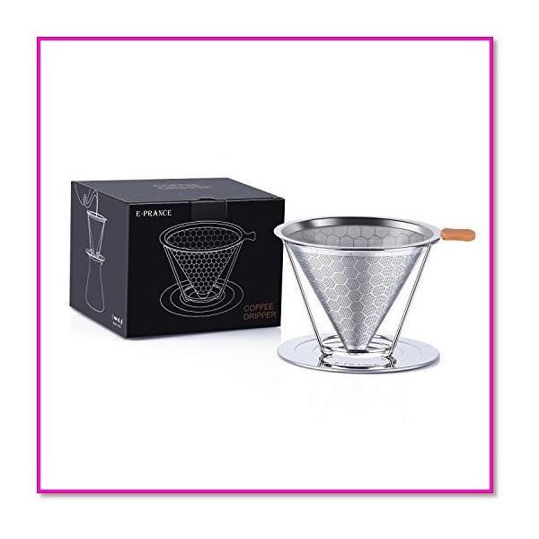 コーヒードリッパーステンレスフィルター蜂窩状2層メッシュペーパーフィルター不要1〜4杯用 シルバー  0169|trepakgogo|08