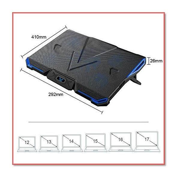冷却パッド ノートパソコン冷却ファン クール5ファン 超静音風量調節可 7段階角度調整 2口USBポート付 0910|trepakgogo|08