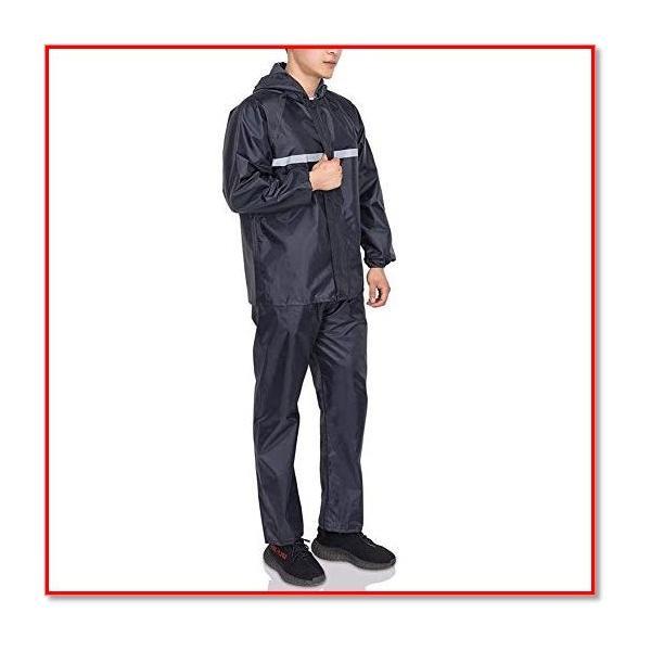 レインコート 身長170-175程度 上下セット レインスーツ 通湿性 レインウェア 通学通勤対応 男女兼用 1974
