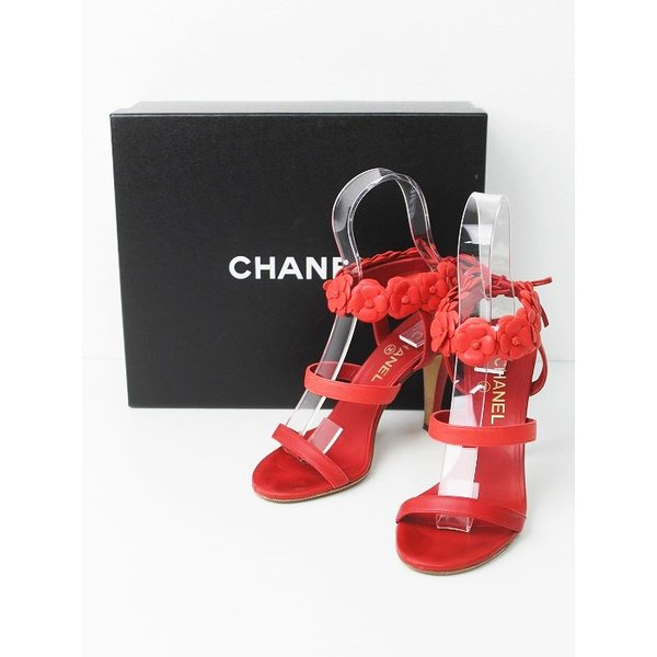 0208c10d1cdf CHANEL シャネル カメリアモチーフ カーフレザーアンクルストラップサンダル 37.5 靴 フラワー ココマーク 赤 2400010647888  ...