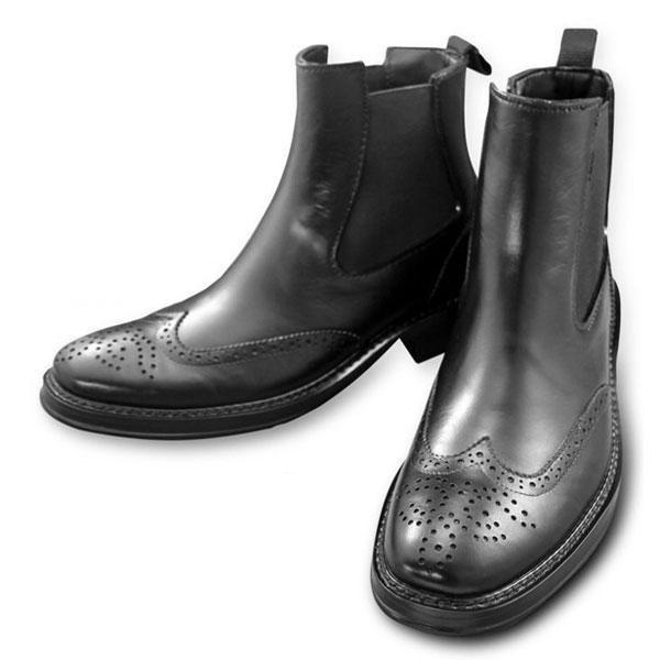 ラバーメンズサイドゴアレインブーツ完全防水加工ブラック(ビジネスレインシューズ雨靴おしゃれ通勤営業雨具便利グッズ)