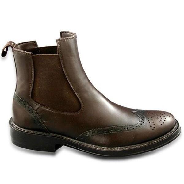 ラバーメンズサイドゴアレインブーツ完全防水加工ブラウン(ビジネスレインシューズ雨靴おしゃれ通勤営業雨具便利グッズ)