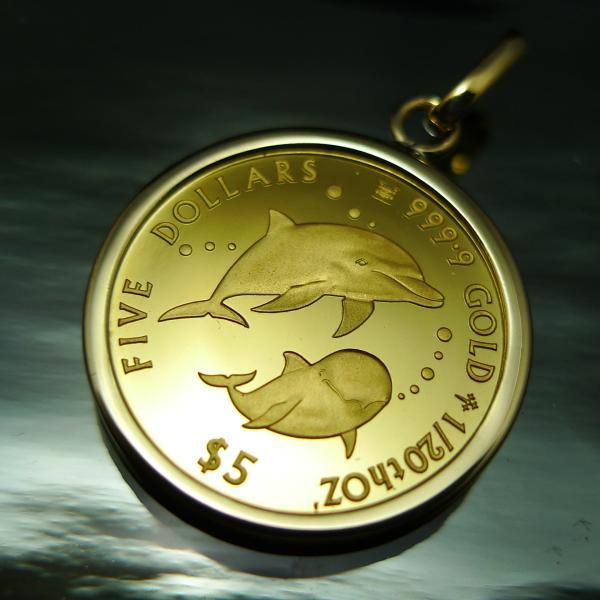 純金 イルカ ドルフィン レア 限定 ペンダント トップ 1/20oz コイン 2017  ネックレス  5$ コイン 24金 サービスチェーン付