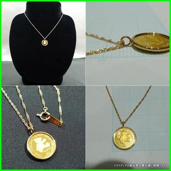 2012年記念 純金 テディベア コイン k18スクリューチェーン付|trideacoltd|02
