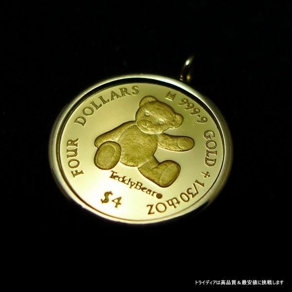 2012年記念 純金 テディベア コイン k18スクリューチェーン付|trideacoltd|03
