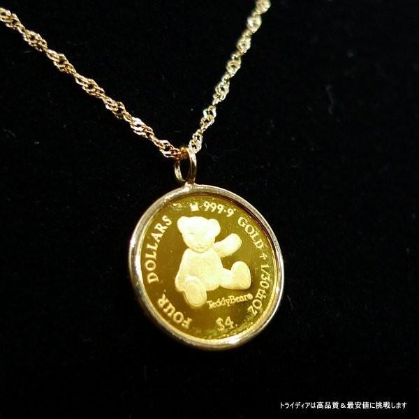 2012年記念 純金 テディベア コイン k18スクリューチェーン付|trideacoltd|05