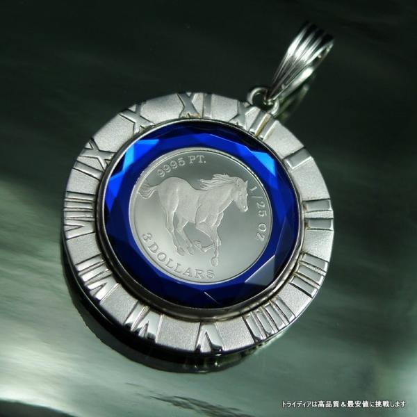 プラチナ ツバル ホースコイン 1/25oz ペンダント7.6g K18WG 青 g|trideacoltd|03