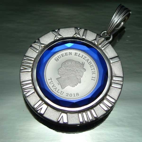 プラチナ ツバル ホースコイン 1/25oz ペンダント7.6g K18WG 青 g|trideacoltd|04