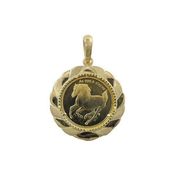 純金 ツバル ホース コイン 1/25oz k24 24金 オンス ペンダント 3g K18 18金 枠 エリザベス2世 ペンダントトップ メンズ レディース