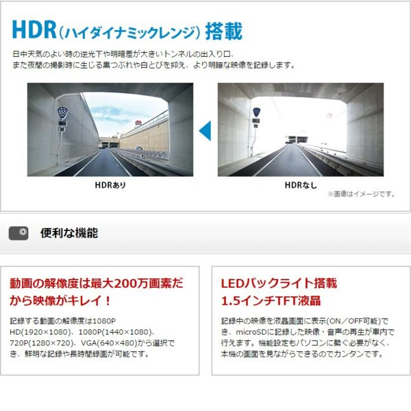 セール価格 HDR搭載で白とび黒潰れを軽減 ユピテル ドライブレコーダー DRY-WiFiV3c スイングタイプ 無線LAN内蔵 GPS&Gセンサー搭載 レンズ部可動式|trim|09