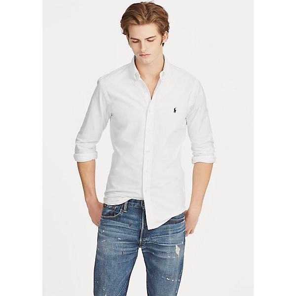ラルフローレン メンズ シャツ Polo Ralph Lauren Garment-Dyed Oxford Shirt カッターシャツ Slimサイズ White