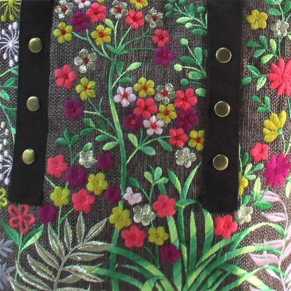 刺繍 ミニ トート バッグ ダークブラウングレー コットン 布 ビーズ ハンドメイド ベトナム 雑貨